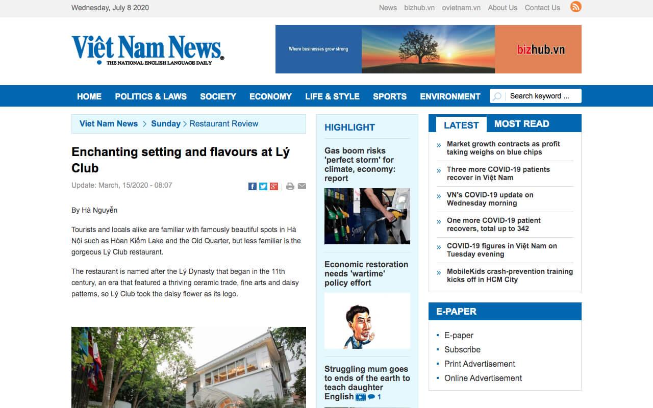 vietnamnews.vn - Enchanting setting and flavours at Lý Club